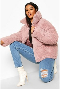 Teddy Faux Fur Puffer Jacket, Lilac