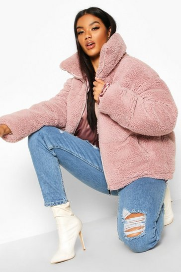 Lilac Teddy Faux Fur Puffer Jacket