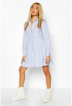 Blue Stripe Skater Shirt Dress