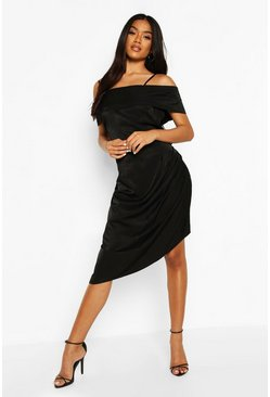 Metallic Aysmetric Slip Dress, Black