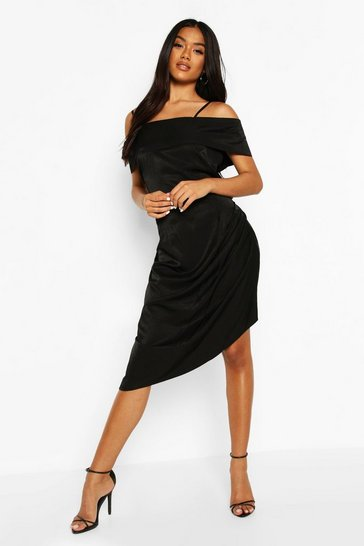 Black Metallic Aysmetric Slip Dress