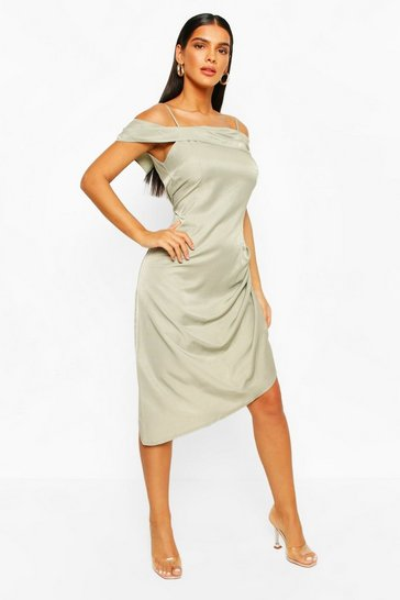 Sage Metallic Aysmetric Slip Dress