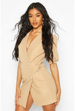 Puff Sleeve Blazer Dress, Taupe