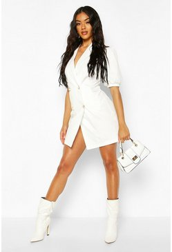 Puff Sleeve Blazer Dress, White