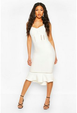 White Premium Sculpting Bandage Mesh Insert Frill Hem Midi Dress