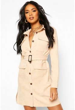 Baby Cord Utility Pocket Shirt Dress, Stone
