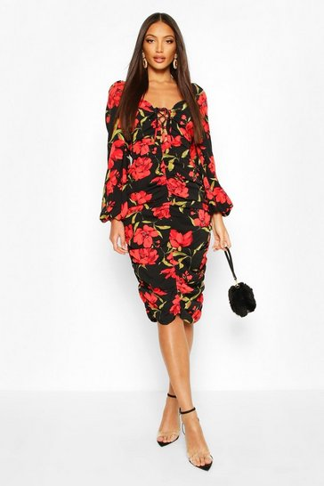 Black Rose Print Puff Sleeve Ruched Midi Dress