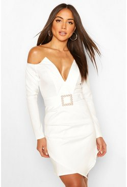 Pearl Buckle Blazer Bodycon Dress, White