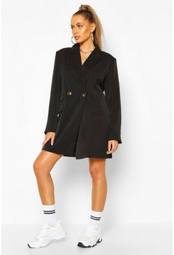 Black Oversized Boyfriend Blazer Dress