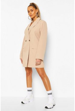 Nude Oversized Boyfriend Blazer Dress