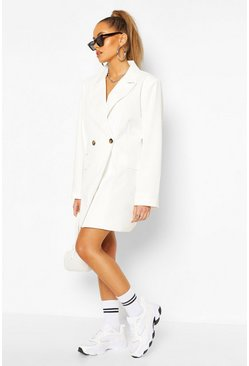 White Oversized Boyfriend Blazer Dress