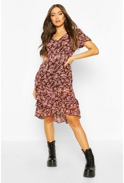 Chocolate Floral Ruffle Midi Dress