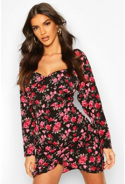 Floral Print Square Neck Wrap Mini Dress, Black, Donna