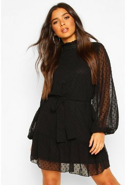 Dobby Chiffon Ruffle Neck Belted Skater Dress, Black