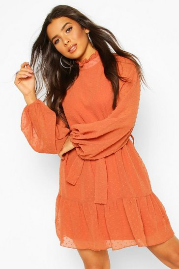 Womens Rust Dobby Chiffon Ruffle Neck Belted Skater Dress