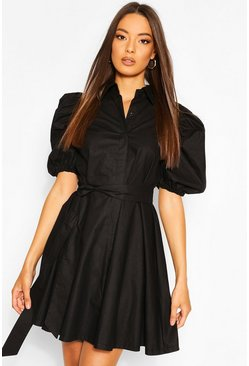 Puff Sleeve Belted Shirt Dress, Black