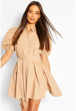 Taupe Puff Sleeve Belted Shirt Dress