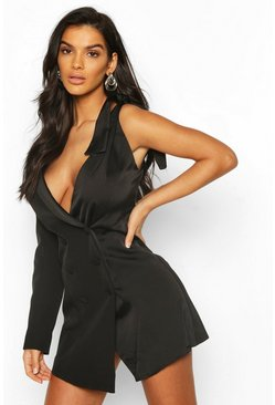 Black Bow Detail One Shoulder Blazer Dress