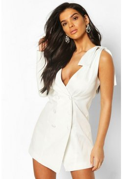 White Bow Detail One Shoulder Blazer Dress