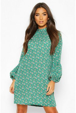 Puff Sleeve Shift Dress, Green