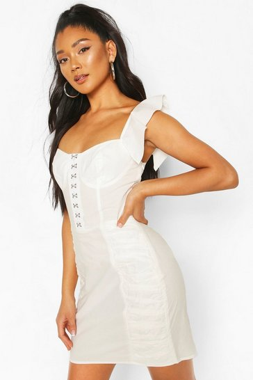 White Hook And Eye Frill Sleeve Mini Dress