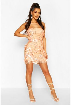 3D Floral Mesh Mini Dress, Peach