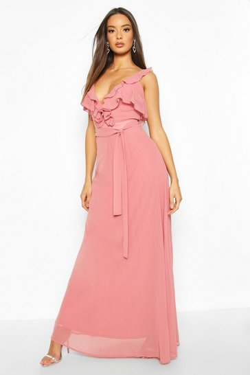 Rose Ruffle Detail Chiffon Maxi Dress