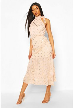 Foil Polka Dot Chiffon Midaxi Dress, Nude