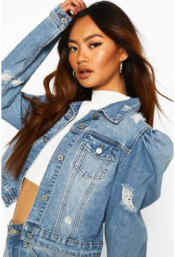 Mid blue Distressed Puff Shoulder Detail Denim Jacket