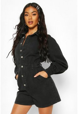 Black Balloon Sleeve Denim Playsuit