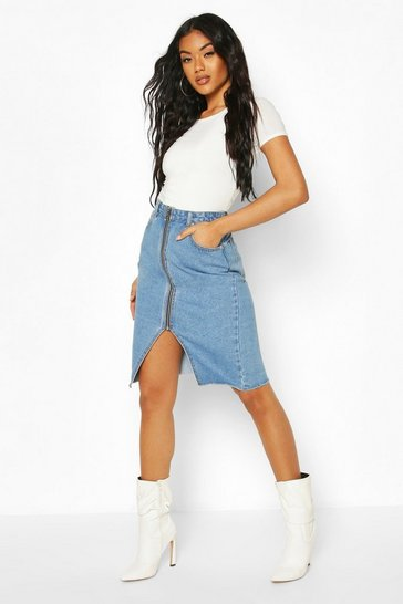 Mid blue Zip Front Denim Midi Skirt