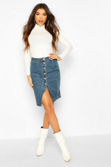 Dark blue Button Detail Split Denim Midi Skirt