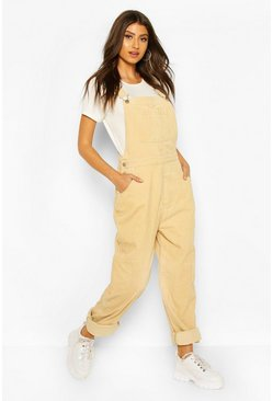 Ecru Cord Pocket Boyfriend Dungaree