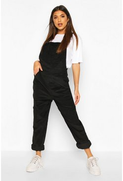 Black Cord Pocket Boyfriend Dungaree