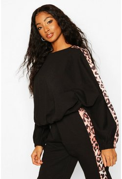 Womens Black Colour Block Leopard Oversized Sweater