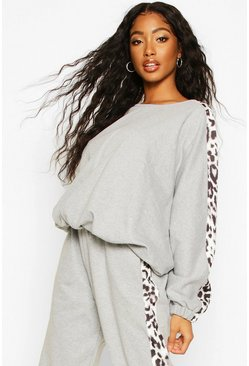 Grey marl Colour Block Leopard Oversized Sweater