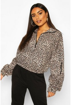 Leopard Zip Oversized High Neck Sweat, Brown