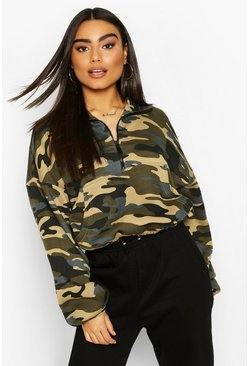 Camo Zip Oversized High Neck Sweat, Khaki