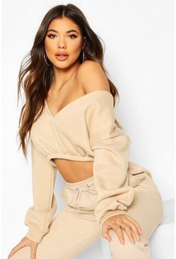 Crop Off Shoulder Sweat, Sand