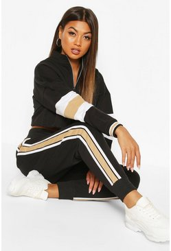 Black Colour Block Sweat Jogger Tracksuit