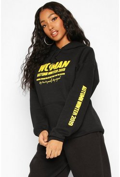 Woman A/W Oversized Hoodie, Black, Donna