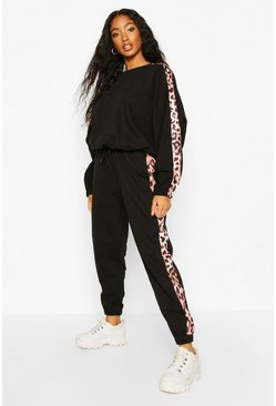 Black Colour Block Leopard Print Oversized Joggers