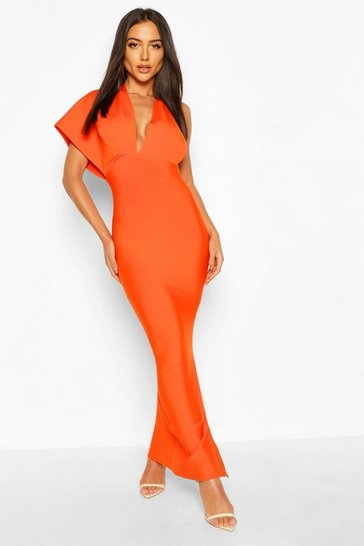 Coral Premium Sculpting Bandage One Shoulder Midaxi Dress