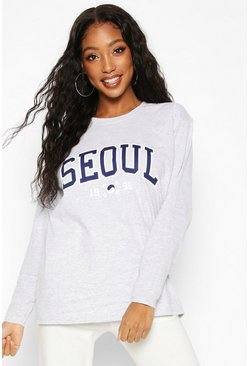 Grey Seoul Slogan Print Long Sleeve T-Shirt