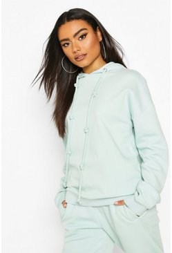 Fleece Back Knot Detail Drawstring Oversized Hoodie, Blue