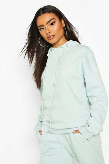 Blue Fleece Back Knot Detail Drawstring Oversized Hoodie