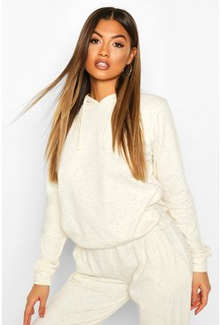 Womens Cream Neeped Lightweight Oversized Hoodie