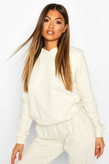 Cream Neeped Lightweight Oversized Hoodie