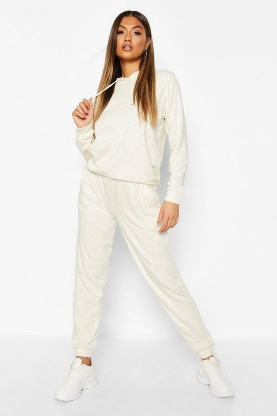 Womens Cream Neeped Lightweight Oversized Jogger