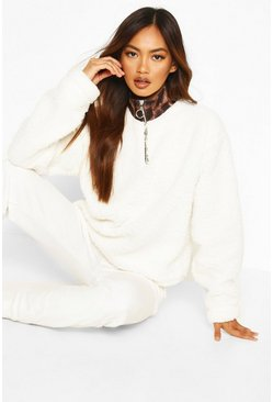 Leopard Print Collar Half Zip Oversized Borg Sweat, Cream, Donna